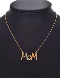 Fashion Gold Copper Inlaid Zircon Letter Mom Necklace