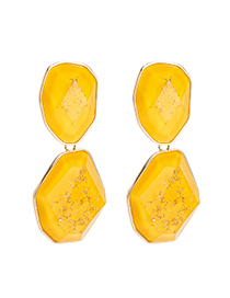 Fashion Yellow Plate Earrings: Gold Flower Embellishment