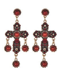 Fashion Red Wine Alloy Diamond Pearl Flower Cross Stud Earrings