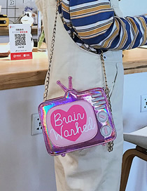 Fashion Pink Funny Laser Tv Reclining Shoulder Bag