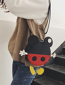 Fashion Black Cartoon Stereo Collision Color Small Backpack