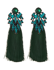 Fashion Dark Green Alloy Diamond Dripping Tassel Earrings