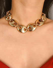 Fashion Gold Geometric Chain Pig Nose Button Necklace