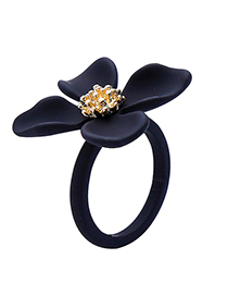 Fashion Black Alloy Plating Drip Flower Ring