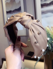 Fashion Khaki Satin Fabric Beaded Knotted Wide-brimmed Headband