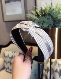 Fashion Gray Plaid Letters Knotted Wide-brimmed Headband
