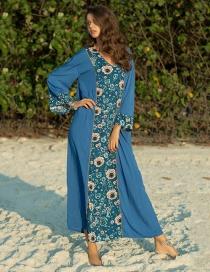 Fashion Blue Floral Print Crew Neck Dress