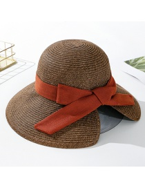 Fashion Coffee Color Dalat Tethered Bow With Straw Hat