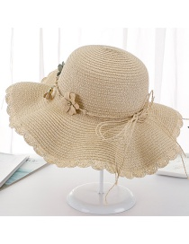 Fashion Beige Dalat Tether Flower Cap