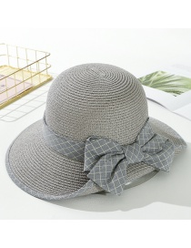 Fashion Gray Plaid Curled Straw Hat