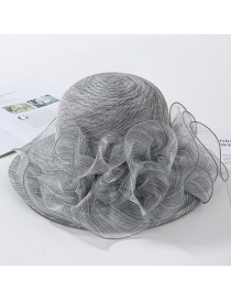 Fashion Gray Big Wavy Side Organza Big Flower Fisherman Hat