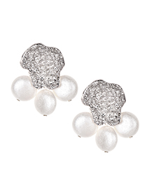 Fashion Silver Alloy Cat Feet Pearl Earrings