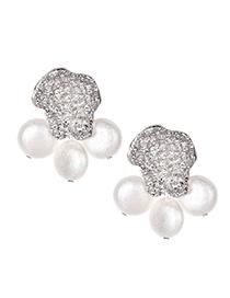 Fashion Silver Alloy Cat Feet Pearl Earrings