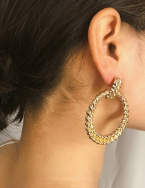 Fashion Large Gold Geometric Hollow Embossed Round Earrings