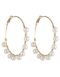 Fashion Gold String Pearl Winding Ring Earrings