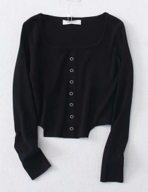Fashion Black Square Collar Single-breasted Sweater Top
