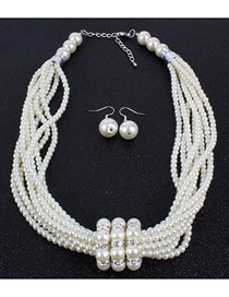 Fashion White Glass Pearl Necklace