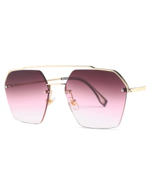Fashion Gold Frame Gray Red White C6 Double Beam Sunglasses
