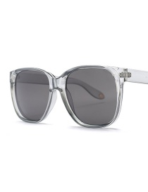Fashion Transparent Frame Black Gray Piece C5 Square Shape Sunglasses