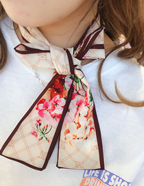 Fashion Beige Floral Narrow Strip Double-sided Small Scarf
