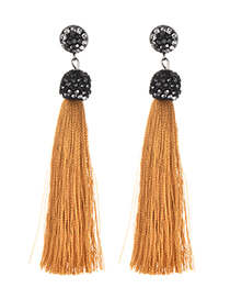 Fashion Ginger Yellow Alloy Studded Tassel Earrings