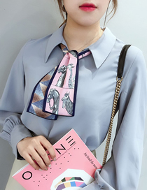 Fashion Pink Simulation Silk Pony Flat Angle Hit Color Scarf