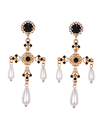 Fashion Black Alloy Diamond Cross Black Diamond Earrings