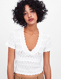 Fashion White Knitted Top