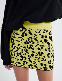 Fashion Yellow Animal Pattern Jacquard Knit Skirt