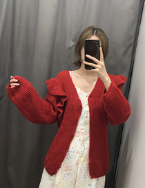 Fashion Red Laminated Knit Cardigan