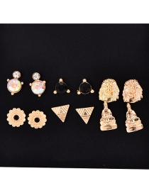Fashion Gold Alloy Love Letter You Ear Studs 6 Pairs