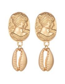 Fashion Gold Alloy Portrait Shell Earrings