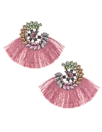 Fashion Leather Pink Alloy Diamond Drop Ring Short Tassel Earrings