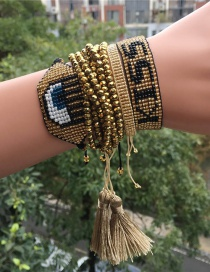 Fashion Gold Set Bracelet Rice Beads Braided Eyes
