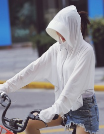 Fashion White Zipper Hooded Sun Protection Clothing