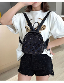 Fashion Black Sequined Square Backpack Trumpet
