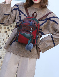 Fashion Dark Brown Stitched Soft Leather Backpack