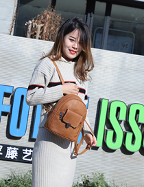 Fashion Light Brown Stitched Soft Leather Buckle Backpack