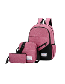 Fashion Pink Three-piece Backpack