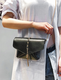 Fashion Black Transparent Lock Diagonal Chain Bag