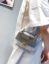 Fashion Black Handbag Shoulder Slung Chain Jelly Transparent Package
