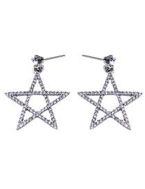Fashion Silver Hollow Five-pointed Star Stud Earrings