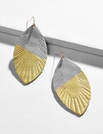 Fashion Color Leather Leaf Doodle Geometric Earrings