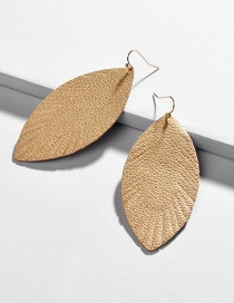Fashion Gold Leather Leaf Doodle Geometric Earrings