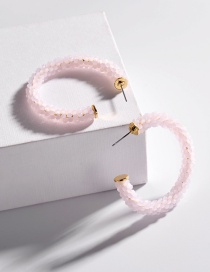 Fashion Pink Glass Crystal Woven C-shaped Earrings