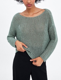 Fashion Green Openwork Sweater