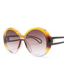 Fashion Yellow Frame Tea Slice Round Sunglasses