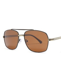 Fashion Golden Frame Full Tea Polarizer Sunglasses