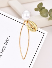 Fashion Gold Alloy Pearl Shell Hairpin