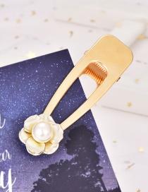 Fashion Gold Alloy Pearl Flower Hair Clip